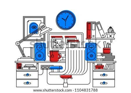 Illustration of creative office workspace interior in outline flat style on white background. Desktop computer, wooden table, chair, clock, books etc.