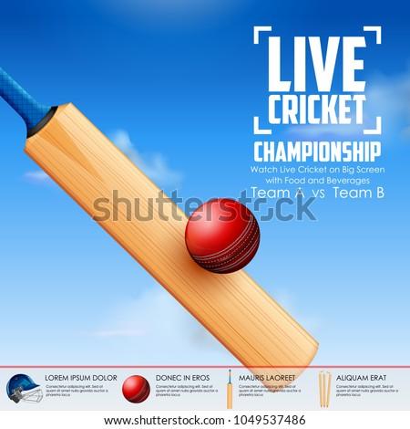 illustration of Cricket bat and ball striking on sports background