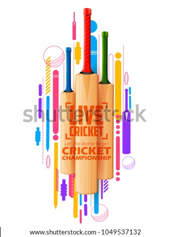 illustration of Cricket bat on sports background
