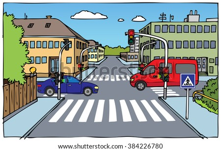 illustration of crossroads with