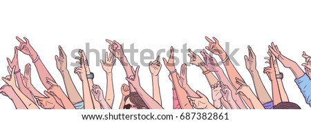 Illustration of crowd cheering with raised hands at music festival in color #687382861