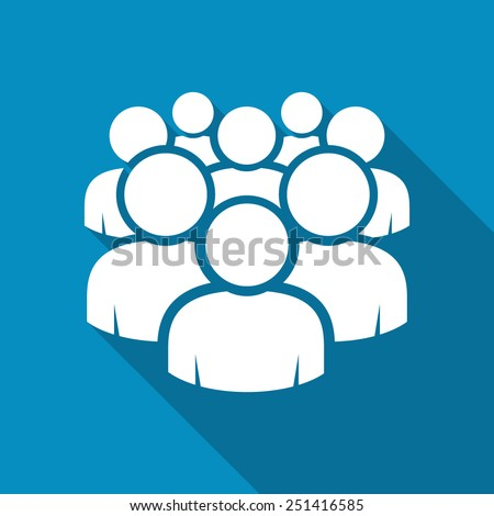 Illustration of crowd of people - icon silhouettes vector. Social icon. Modern design flat style icon with long shadow effect