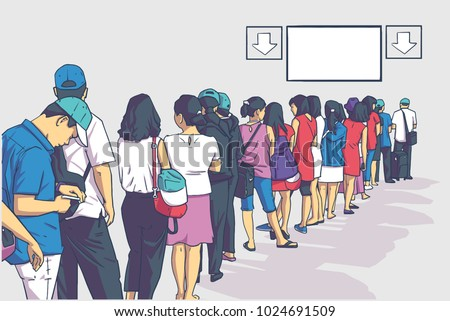 Illustration of crowd of people standing in line in perspective with blank signs in color