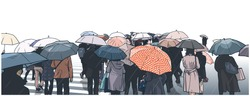 Illustration of crowd of people waiting at street crossing in the rain with rain coats and umbrellas in color