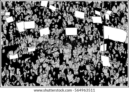 Shutterstock Illustration of crowd protesting for basic human rights with blank signs and flag in three tones: black, white, grey
