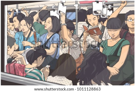 illustration of crowded metro
