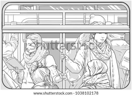Illustration of crowded metro subway passenger car