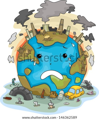 Illustration Of Crying Earth Due To Pollution - 146362589 ...