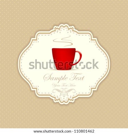 illustration of cup of hot coffee cup on patterned background