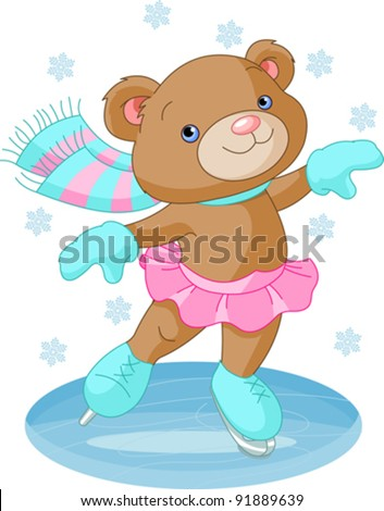 illustration of cute bear girl