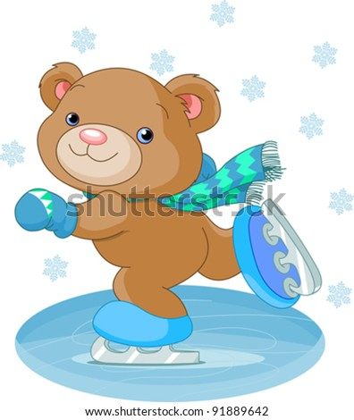 Illustration of cute bear on ice skates