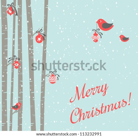 Illustration of cute birds decorating trees for Christmas. - stock vector