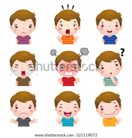 illustration of cute boy faces