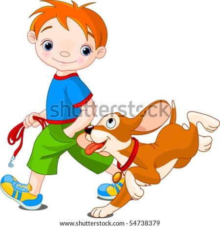 Illustration of cute Boy walk the dog - stock vector