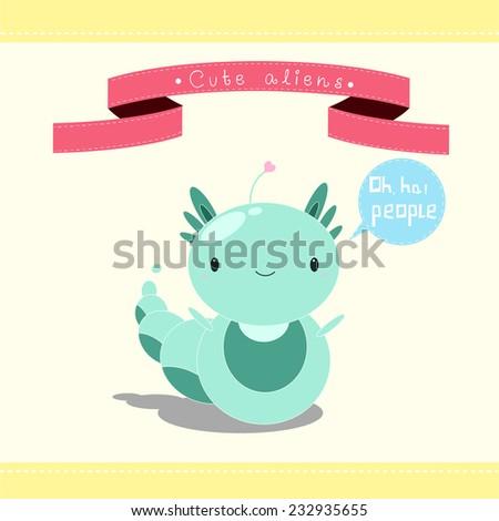 illustration of cute cartoon alien