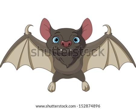 illustration of cute cartoon halloween bat flying - Bat Cartoon
