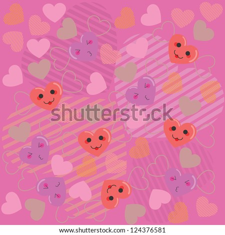 Illustration of cute cartoon hearts with faces pink pattern background.