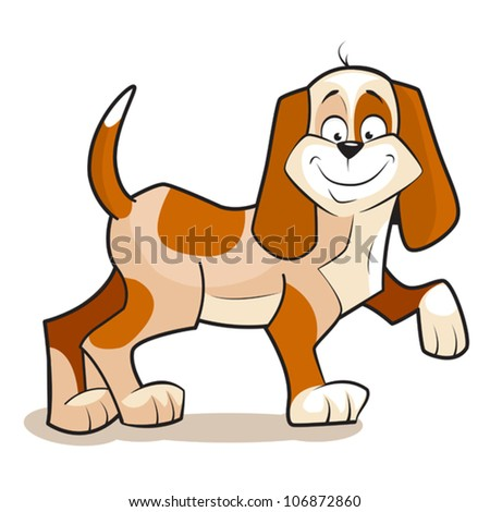 Illustration of Cute cartoon vector dog, dreams of delicious bone. Isolated on white. - stock vector