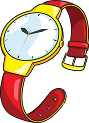 Illustration of cute cartoon wristwatch.
