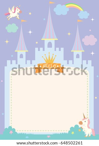 stock-vector-illustration-of-cute-castle-template-on-fairy-tale-background-with-unicorn-and-rainbow-in-purple