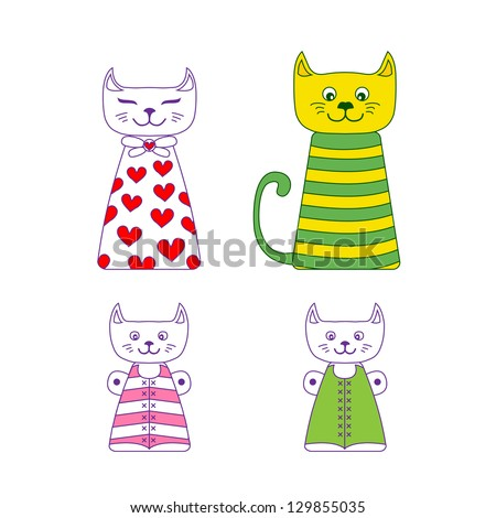 Illustration of cute cats family with mother, father and two children