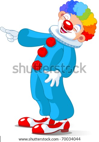 Illustration of Cute Clown laughing and pointing - stock vector