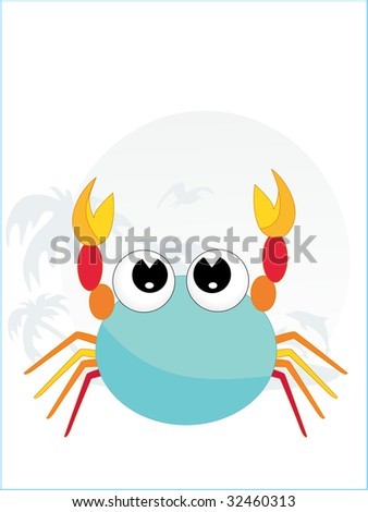 illustration of cute crab with tropical background - stock vector