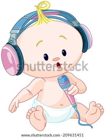illustration of cute dj baby