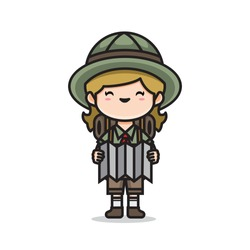 Illustration of cute girl scout vector The Concept of Isolated Technology. Flat Cartoon Style Suitable for Landing Web Pages, Banners, Flyers, Stickers, Cards