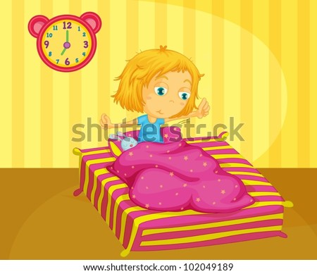 illustration of cute girl waking