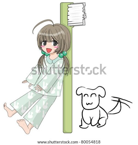 illustration of cute girl with