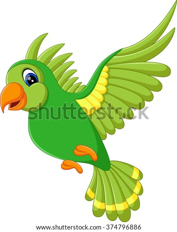illustration of cute green bird