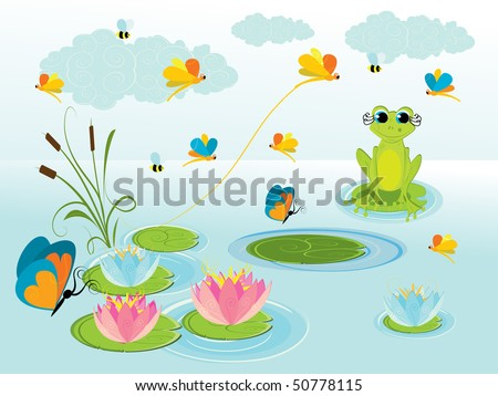 illustration of cute green frog with background - stock vector