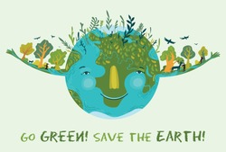 Illustration of cute, happy and prosperous Earth in harmony. Save and protect planet Earth. Conceptual ecological illustration for poster or banner.