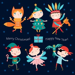 Illustration of cute kids wearing Christmas costumes.