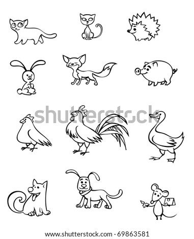 illustration of cute little animals and birds - stock vector