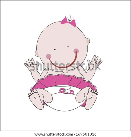 Illustration of cute newborn baby girl cartoon on white background ...