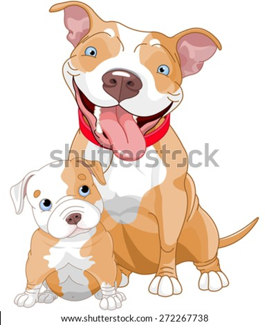 illustration of cute pit bull