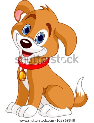 stock-vector-illustration-of-cute-puppy-wearing-a-red-collar-with-gold-tag