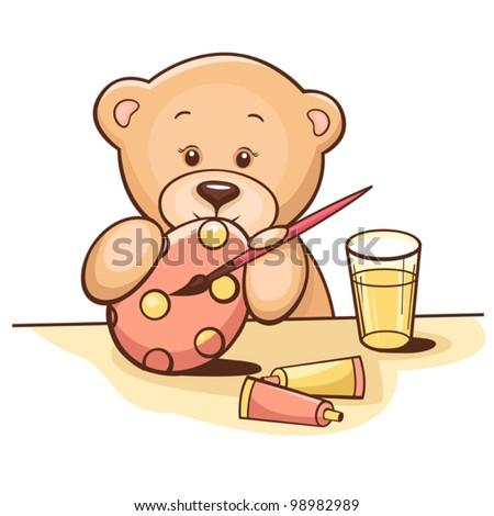 Illustration of cute teddy bear paint the Easter egg.