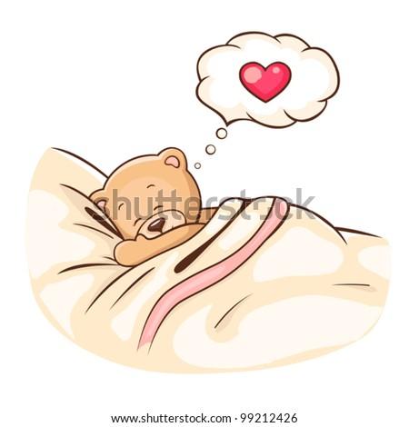 Illustration of cute Teddy Bear sleeps on pillow. - stock vector