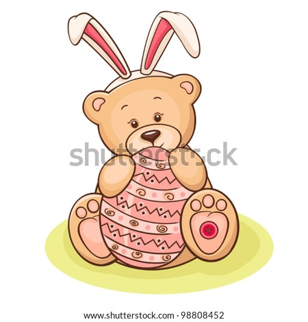 Illustration of cute teddy bear with Easter egg.