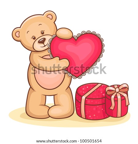 Illustration of cute Teddy Bear with pink love heart and gifts.