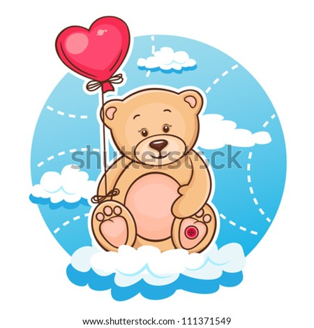 Illustration Of Cute Valentine Teddy Bear With Red Heart Balloon.