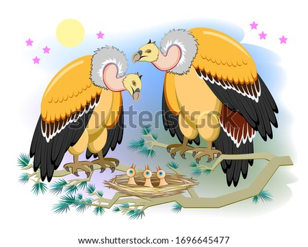 illustration of cute vulture