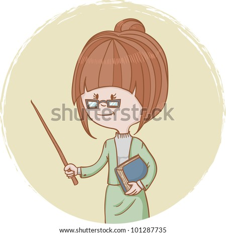 Illustration of cute woman teacher with a book and a pointer in her ...