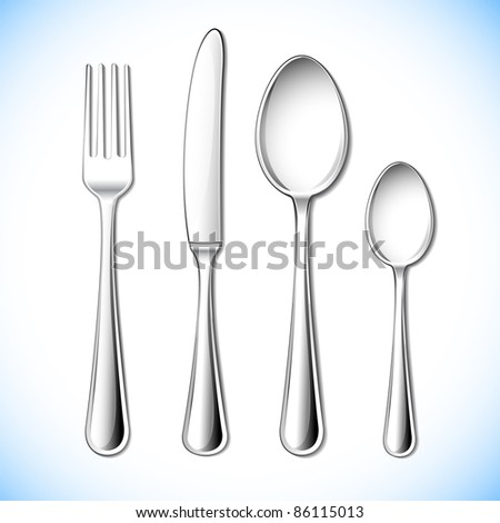 illustration of cutlery set with fork,knife and spoon
