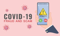 Illustration of cyber criminal preying on online users during Covid-19 outbreak. Phishing, spam, fraud, scam and malware via fake call, phishing, social engineering.