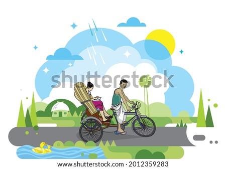 illustration of cycle rickshaw
