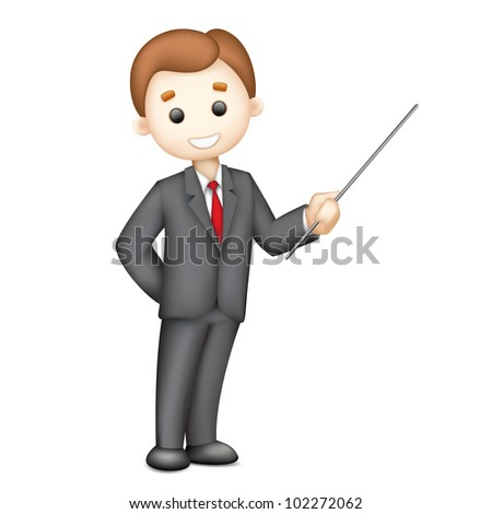 illustration of 3d business man in vector giving presentation